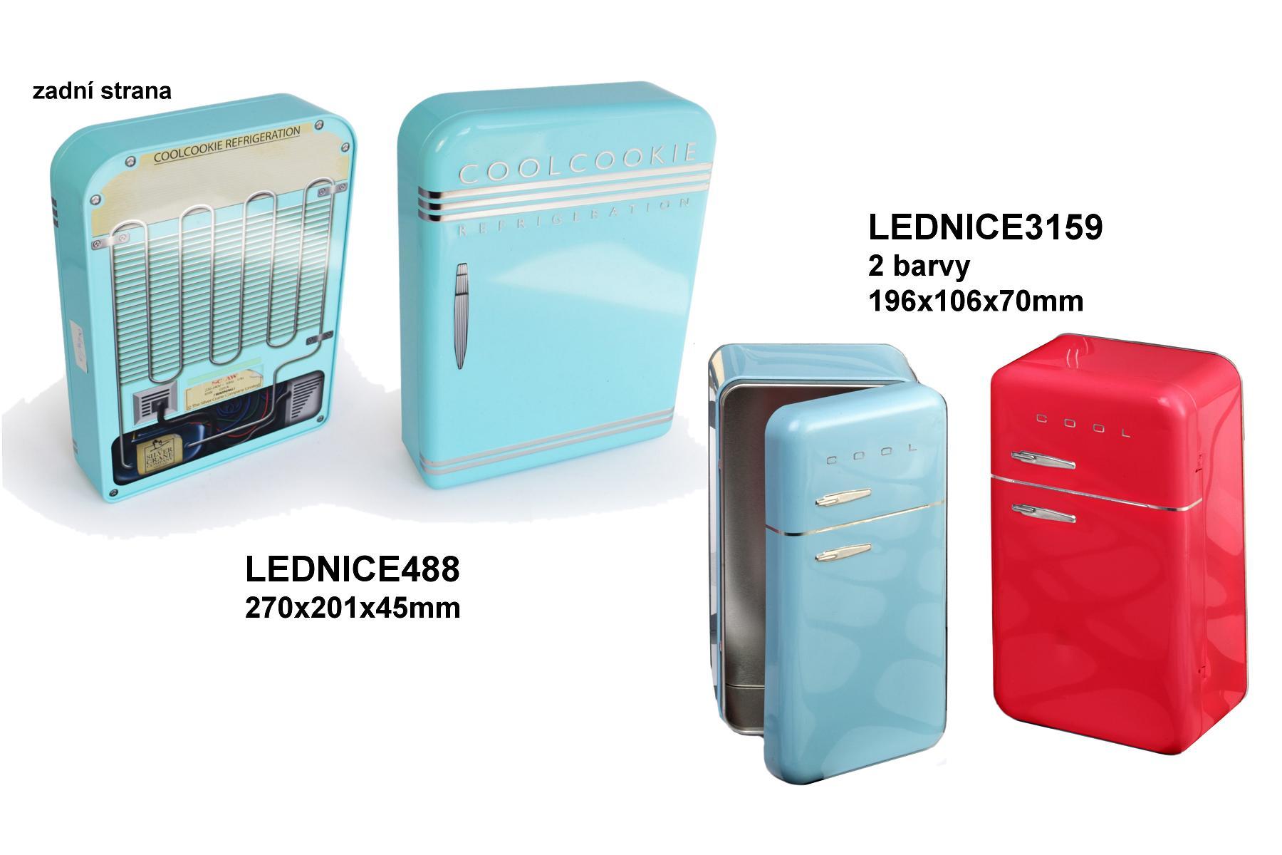 Doza - lednice větší na obr. modrá vlevo