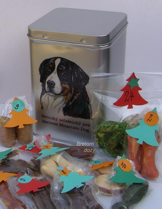Bernský salašnický pes - adventní kalendář pro psy 33 kusů pamlsků / 550 g