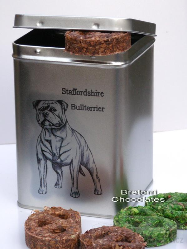 Stafordšír - doza s pamlsky pro psy 30 kusů pamlsků