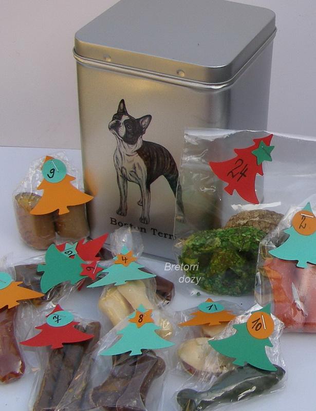 Boston terier - adventní kalendář pro psy 45 pamlsků / 360 g