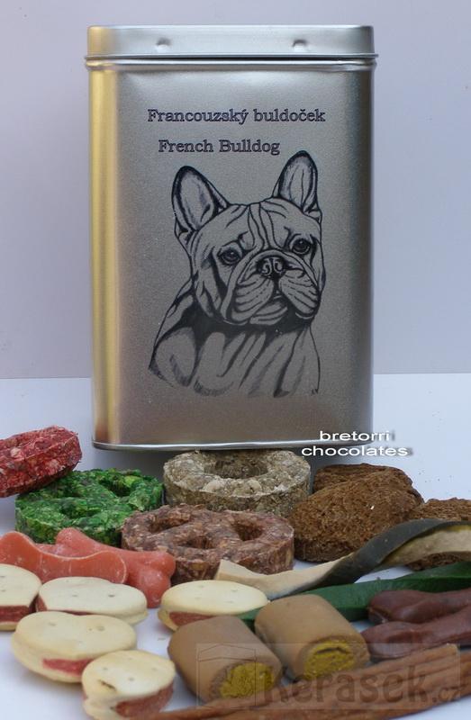 Francouzský buldoček - dóza s pamlsky pro psy 30 pamlsků