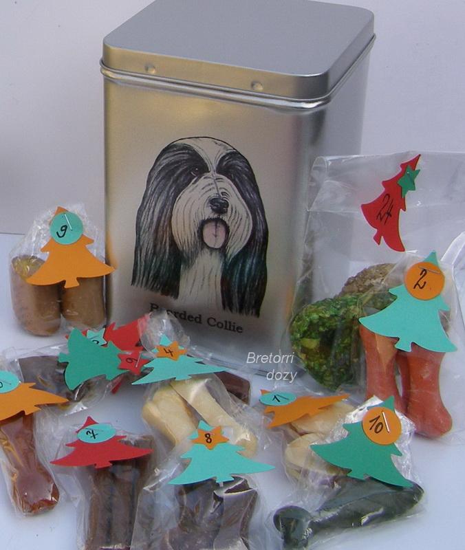 Bearded kolie - adventní kalendář pro psy 33 kusů pamlsků / 550 g