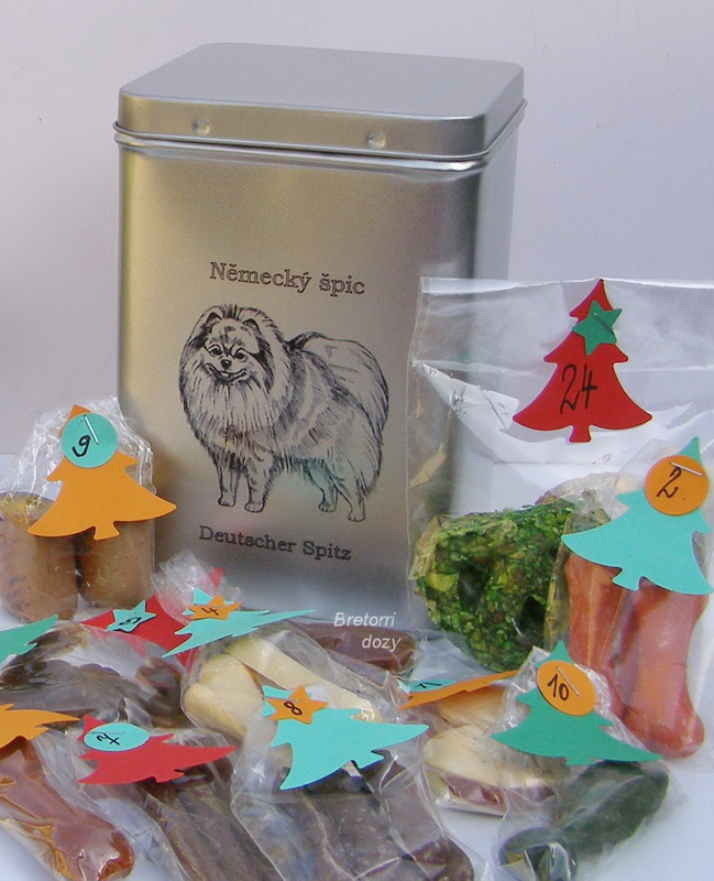 Špic - adventní kalendář pro psy 45 pamlsků / 360 g