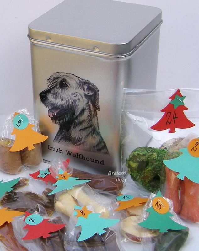 Irský vlkodav - dóza s pamlsky pro psy 30 pamlsků