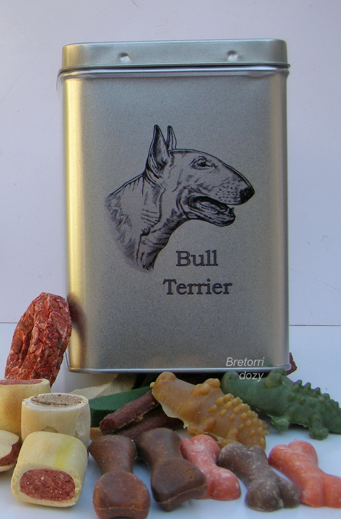 Bulteriér - dóza s pamlsky pro psy 30 pamlsků
