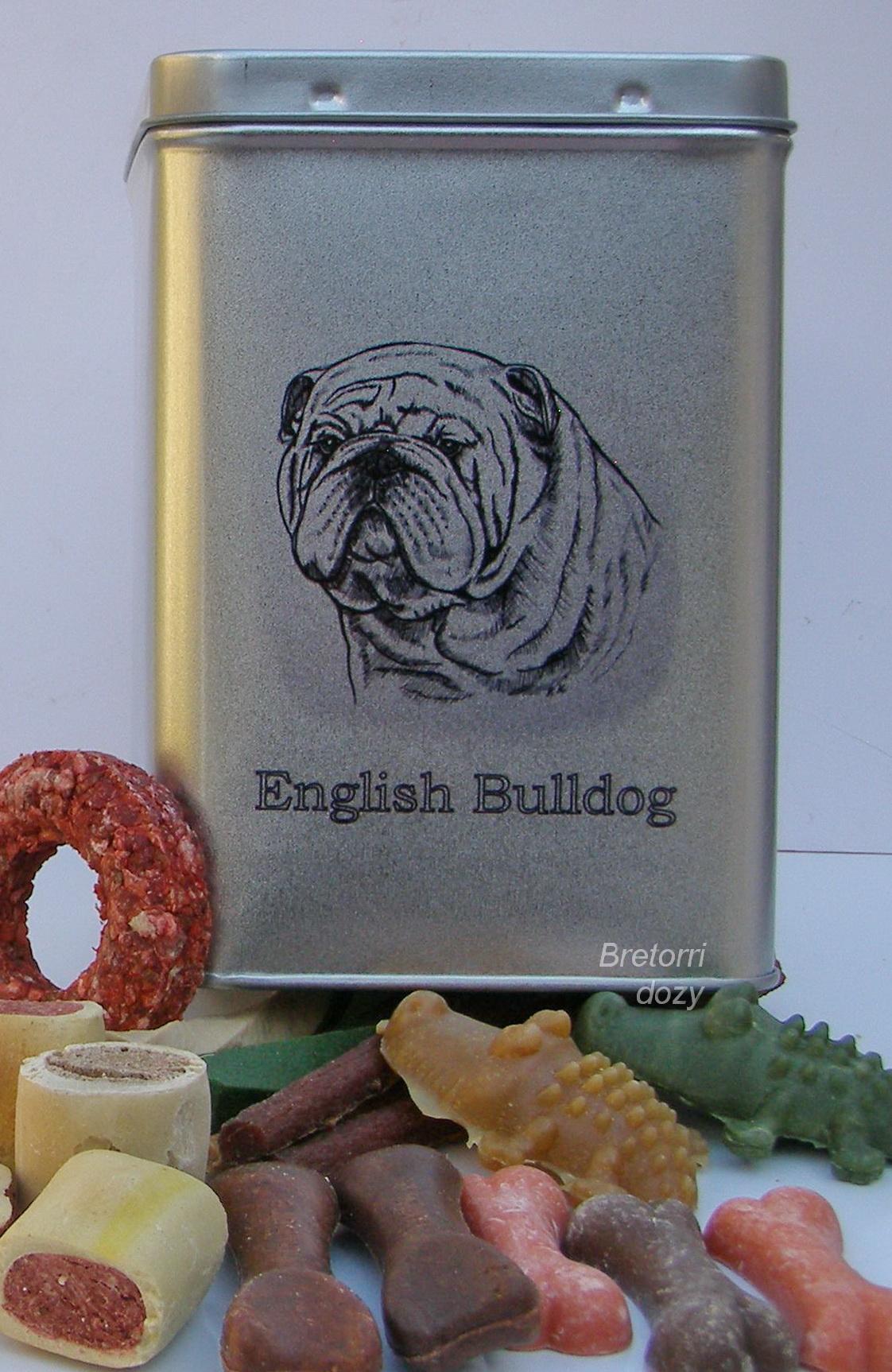 Anglický buldok - dóza s pamlsky pro psy 30 pamlsků